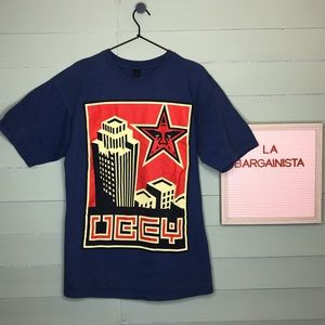 Obey Graphic Propaganda Tee Shirt Navy Blue